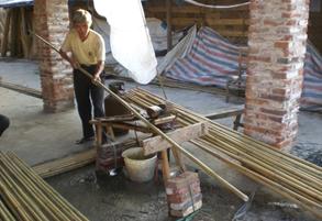 Recht maken bamboestokken